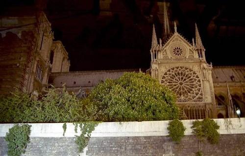 夜のノートルダム寺院